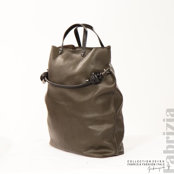 Голяма дамска чанта каки 2 fabrizia