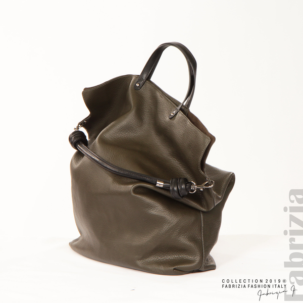 Голяма дамска чанта каки 4 fabrizia