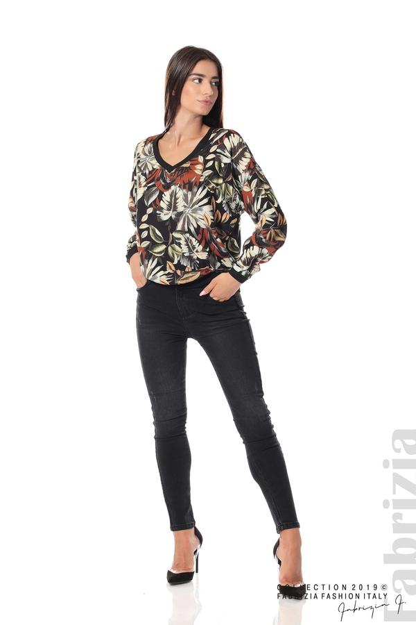 Дамска блуза на цветя черен 3 fabrizia
