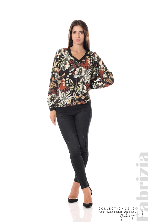 Дамска блуза на цветя черен 2 fabrizia