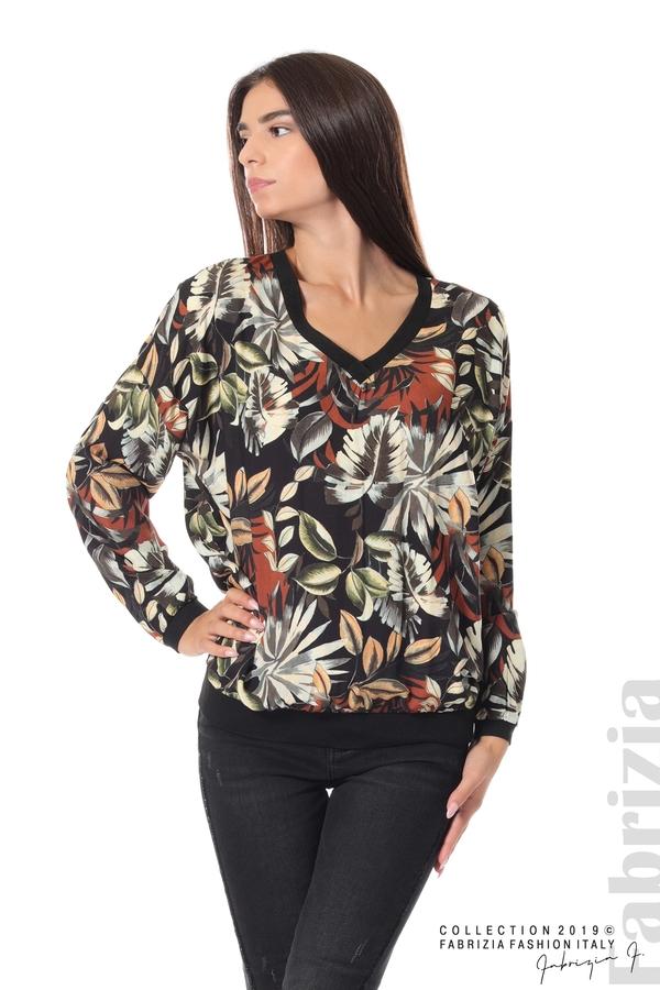 Дамска блуза на цветя черен 1 fabrizia