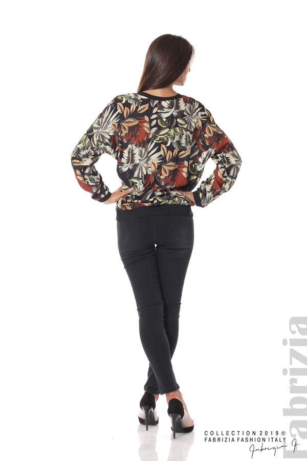 Дамска блуза на цветя черен 4 fabrizia