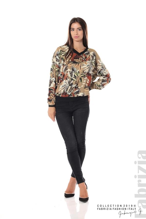 Дамска блуза на цветя мляко с какао 1 fabrizia