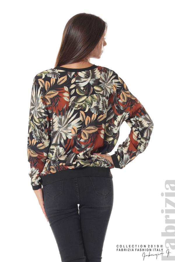 Дамска блуза на цветя черен 5 fabrizia