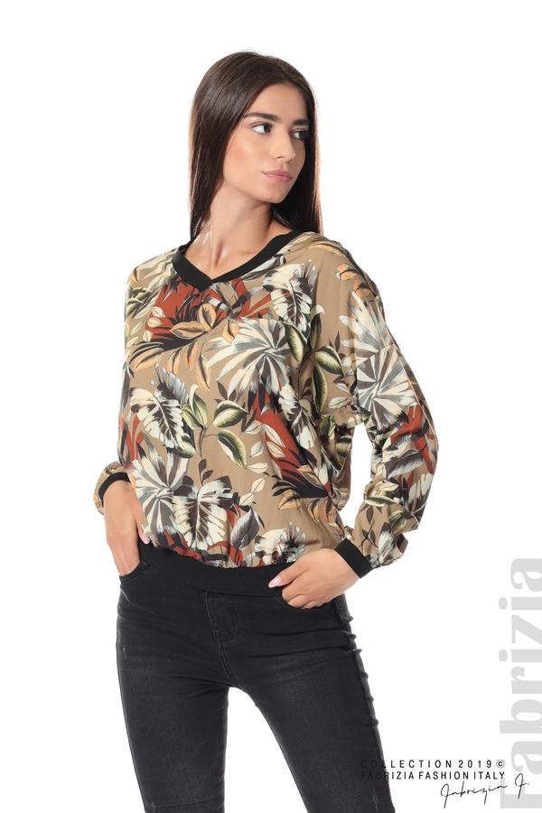 Дамска блуза на цветя мляко с какао 2 fabrizia