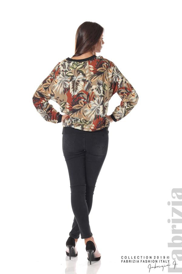 Дамска блуза на цветя мляко с какао 4 fabrizia