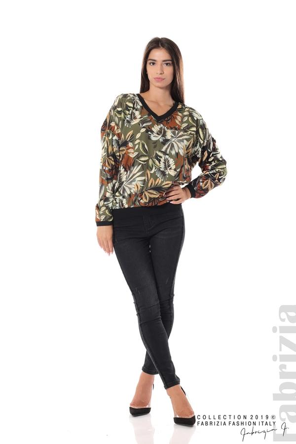 Дамска блуза на цветя каки 1 fabrizia