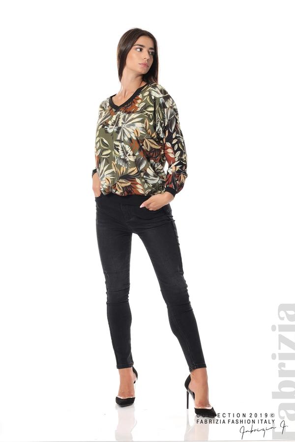 Дамска блуза на цветя каки 2 fabrizia