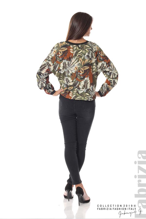 Дамска блуза на цветя каки 3 fabrizia