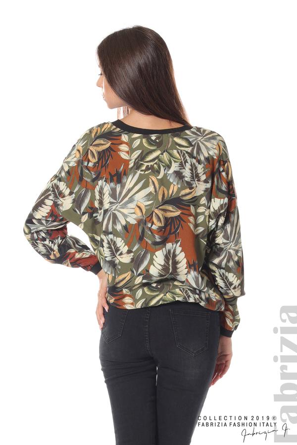 Дамска блуза на цветя каки 4 fabrizia