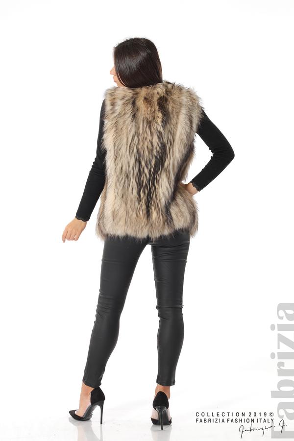 Дамски коКожен елек от естествена кожа с косъм бежов 4 fabriziaжен елек бежов 4 fabrizia