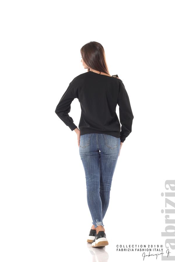 Блуза с паднало рамо черен 4 fabrizia