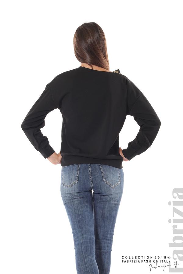 Блуза с паднало рамо черен 5 fabrizia