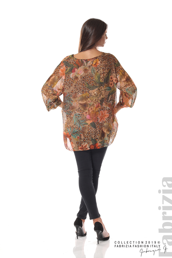 Ефирна копринена блуза с принт на цветя мляко с какао 4 fabrizia