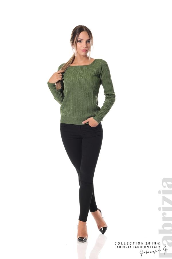 Къса вталена блуза с ламе зелен 1 fabrizia