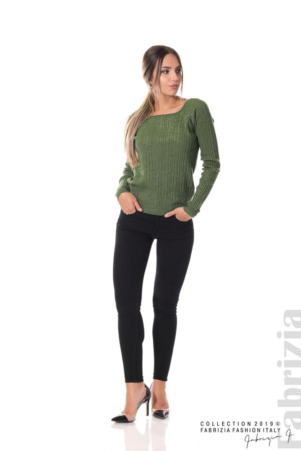 Къса вталена блуза с ламе зелен 3 fabrizia