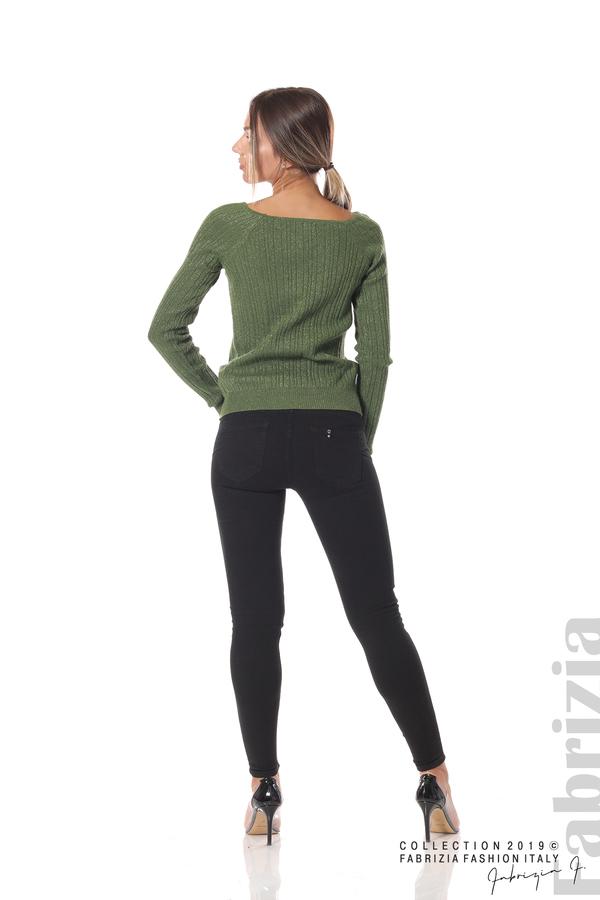 Къса вталена блуза с ламе зелен 4 fabrizia