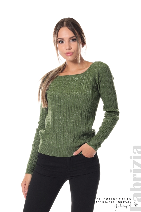 Къса вталена блуза с ламе зелен 2 fabrizia