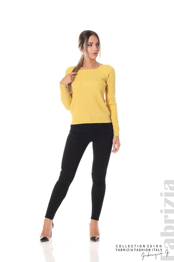 Къса вталена блуза с ламе жълт 3 fabrizia