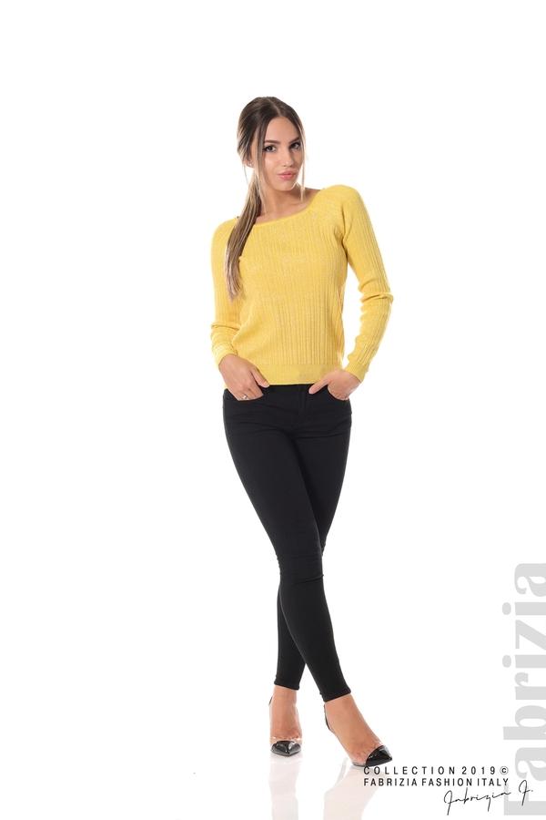 Къса вталена блуза с ламе жълт 2 fabrizia 1 fabrizia