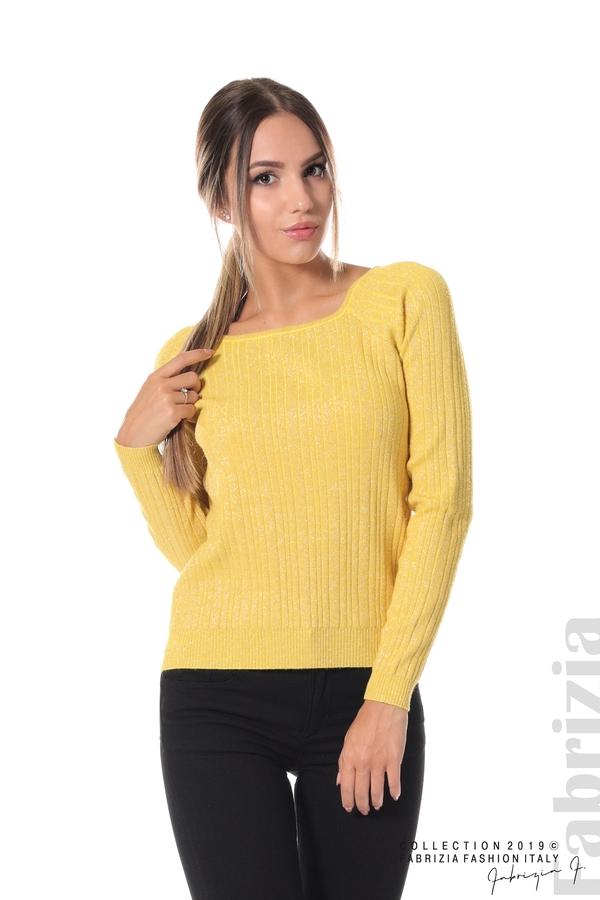 Къса вталена блуза с ламе жълт 1 fabrizia