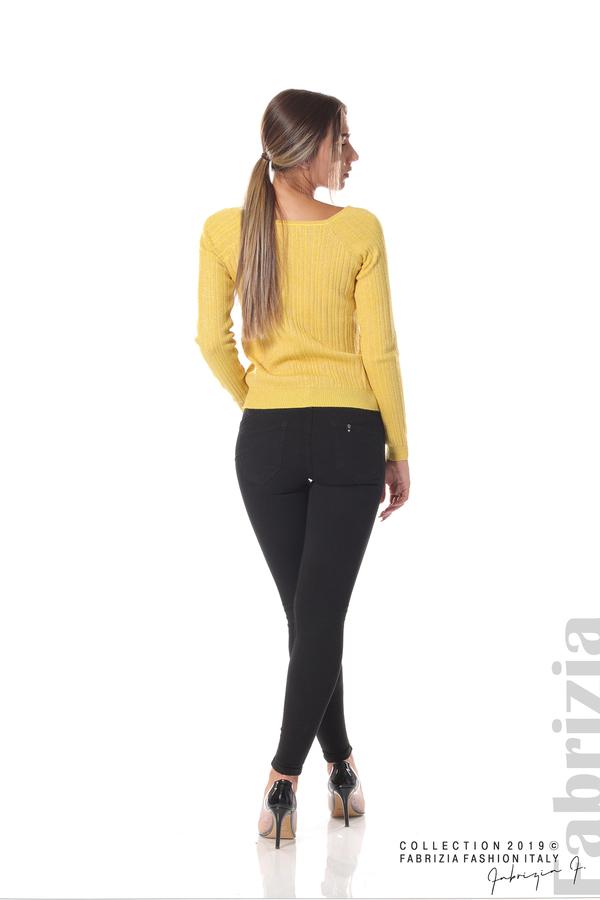 Къса вталена блуза с лаКъса вталена блуза с ламе жълт 4 fabrizia
