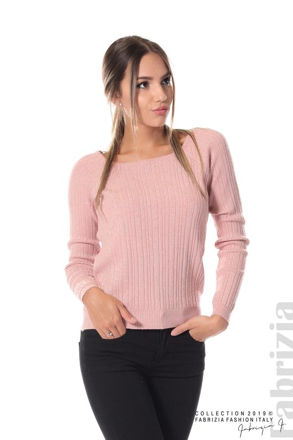 Къса вталена блуза с ламе пепел от рози 1 fabrizia