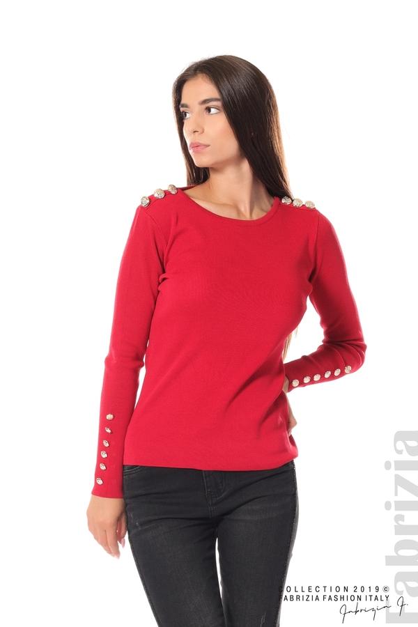 Дамска блуза с декоративни копчета т.червен 1 fabrizia
