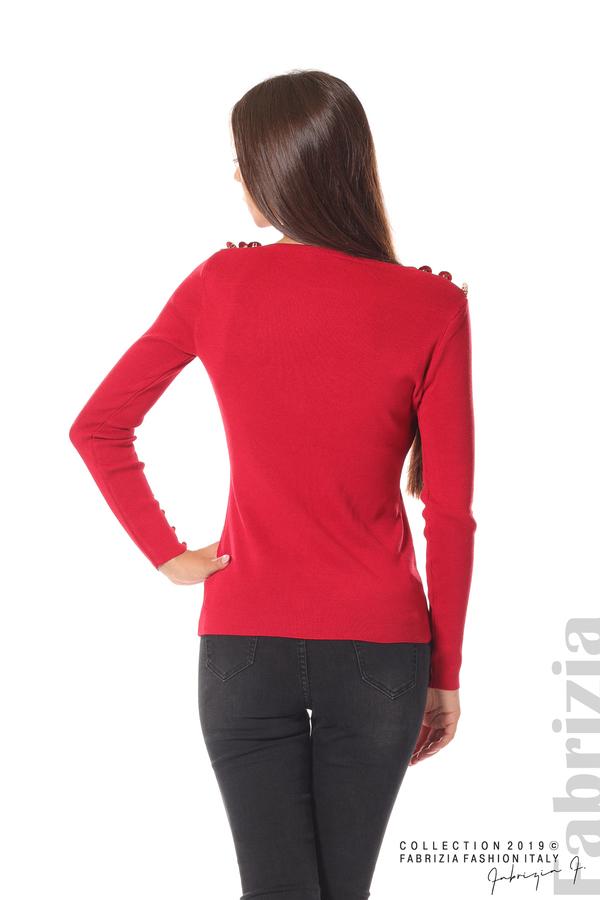 Дамска блуза с декоративни копчета т.червен 5 fabrizia