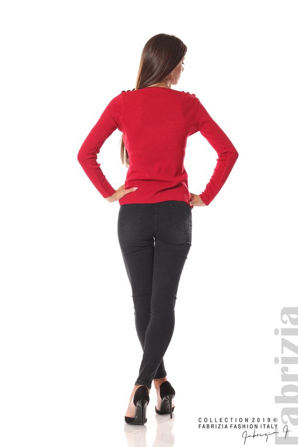 Дамска блуза с декоративни копчета т.червен 4 fabrizia
