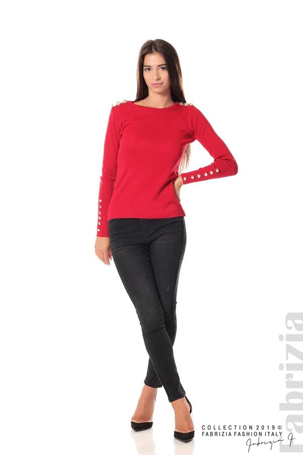 Дамска блуза с декоративни копчета т.червен 2 fabrizia