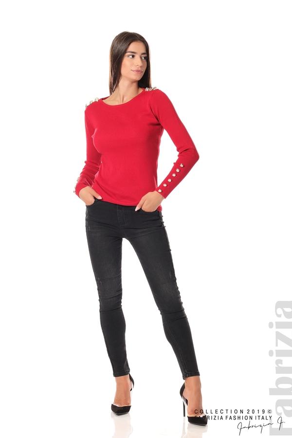 Дамска блуза с декоративни копчета т.червен 3 fabrizia
