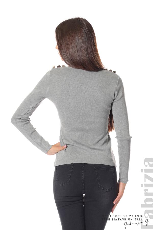 Дамска блуза с декоративни копчета сив 5 fabrizia