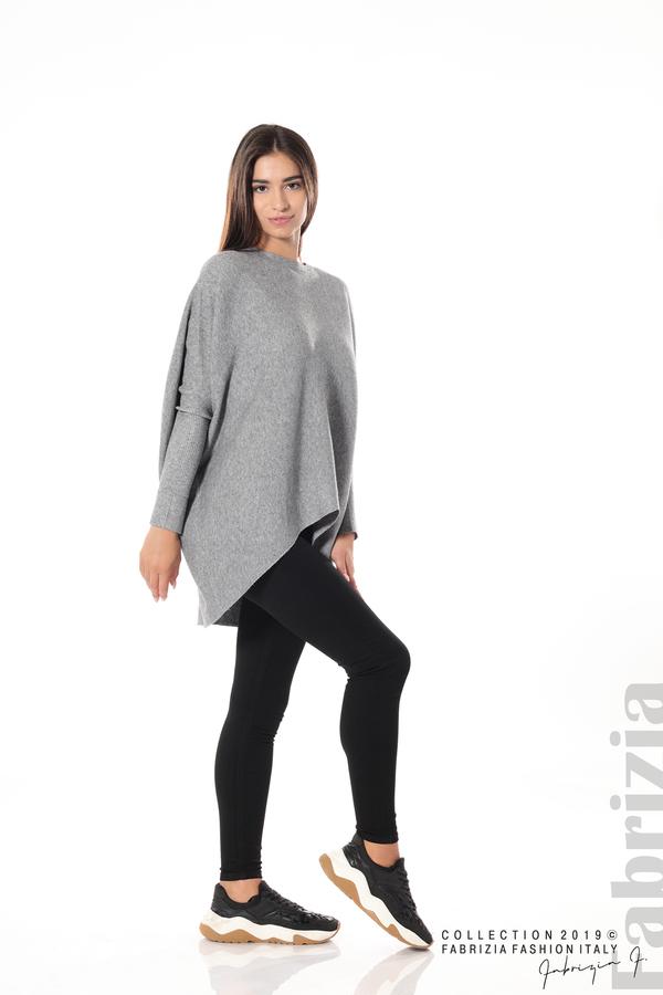Асиметрична дамска блуза от рипс сив 3 fabrizia