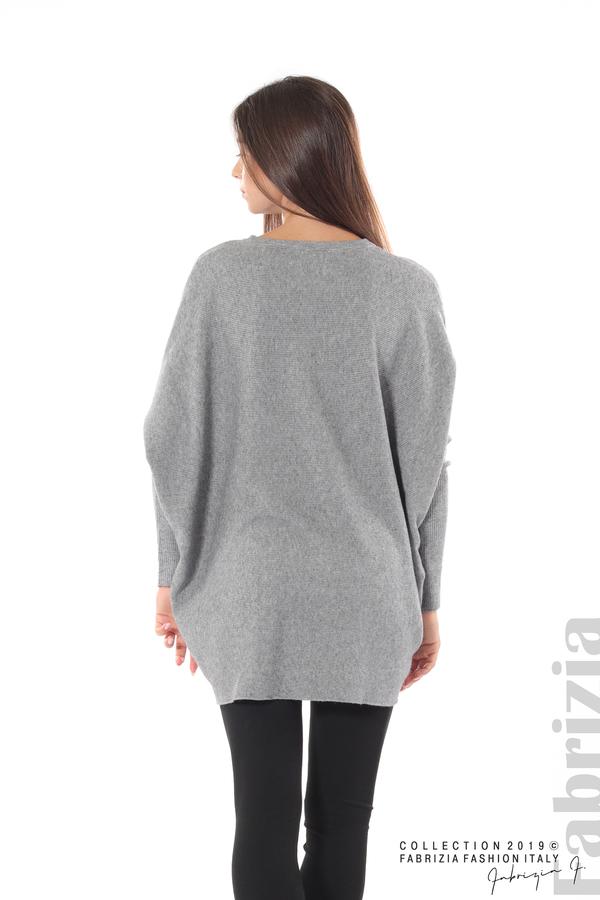 Асиметрична дамска блуза от рипс сив 4 fabrizia