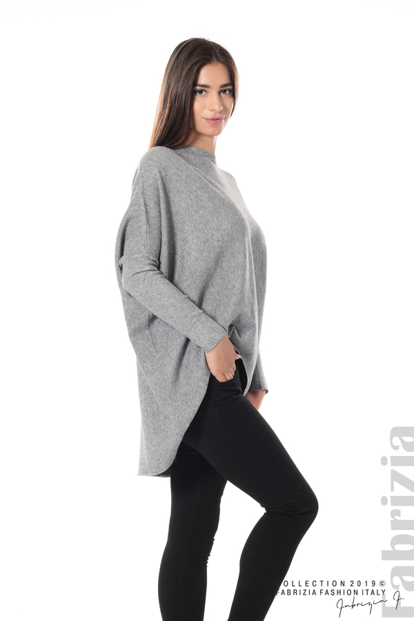 Асиметрична дамска блуза от рипс сив 1 fabrizia