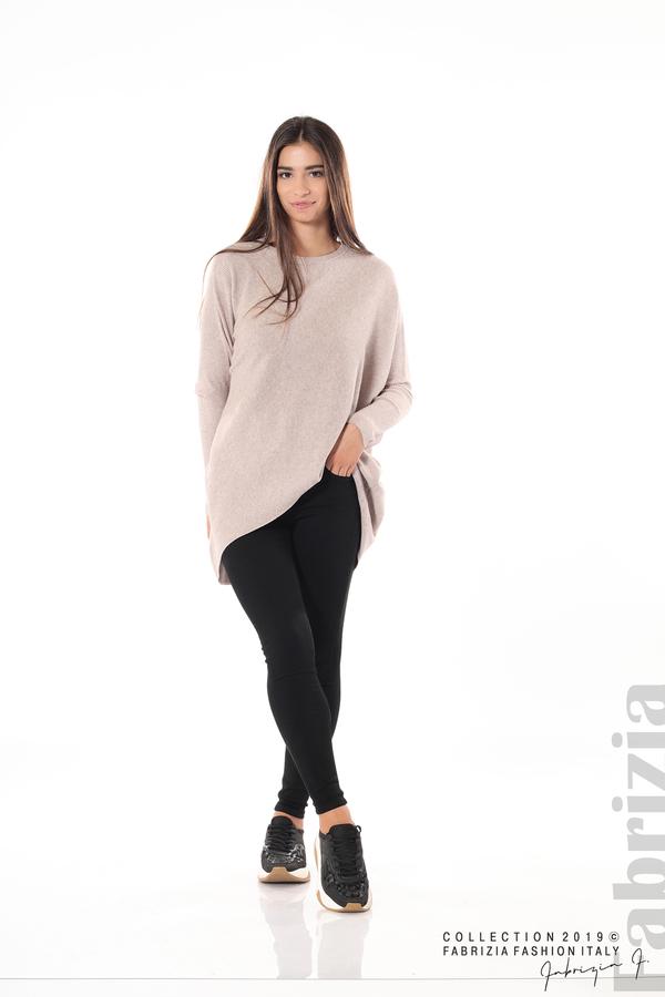 Асиметрична дамска блуза от рипс бежов 1 fabrizia