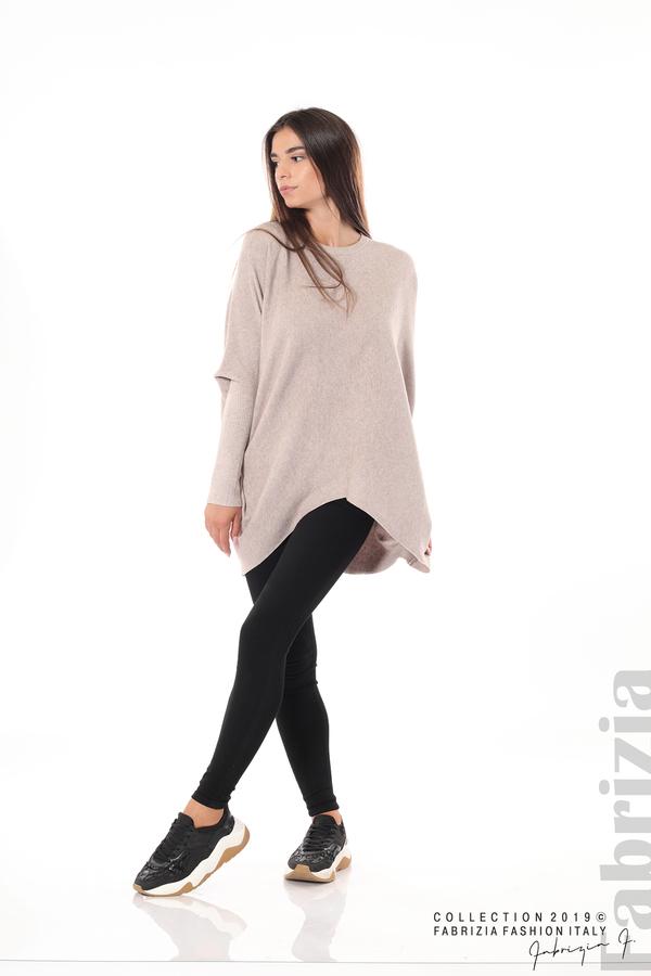 Асиметрична дамска блуза от рипс бежов 3 fabrizia