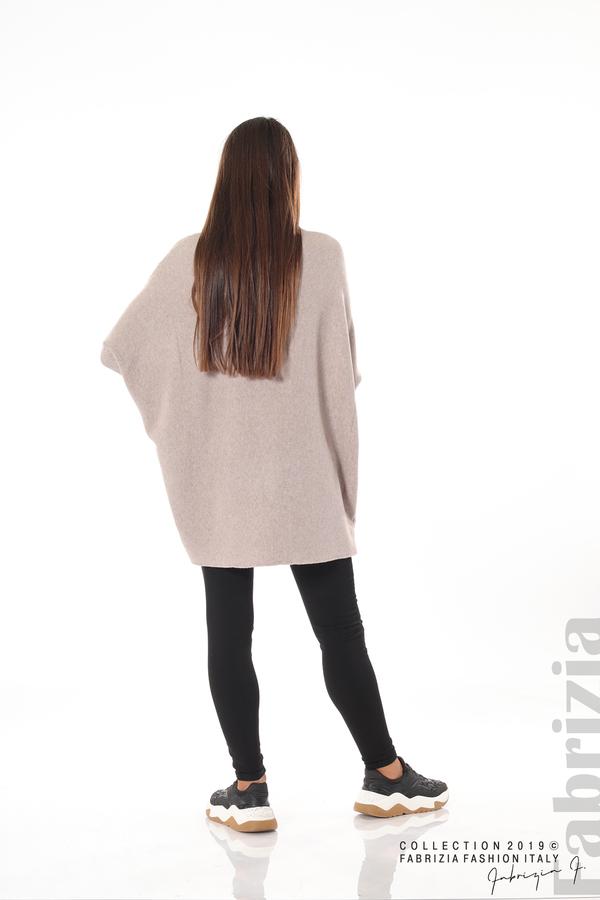 Асиметрична дамска блуза от рипс бежов 4 fabrizia