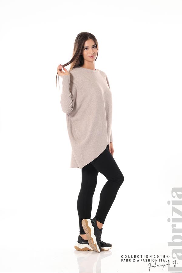 Асиметрична дамска блуза от рипс бежов 2 fabrizia