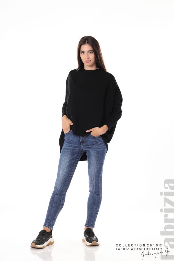 Асиметрична дамска блуза от рипс черен 1 fabrizia