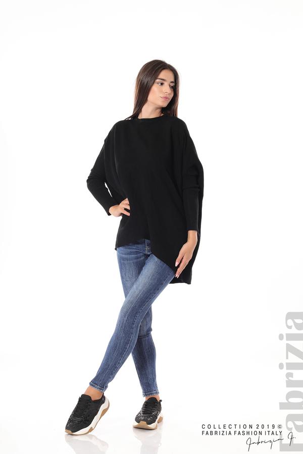 Асиметрична дамска блуза от рипс черен 3 fabrizia