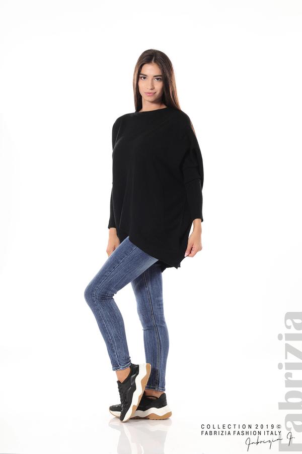 Асиметрична дамска блуза от рипс черен 2 fabrizia