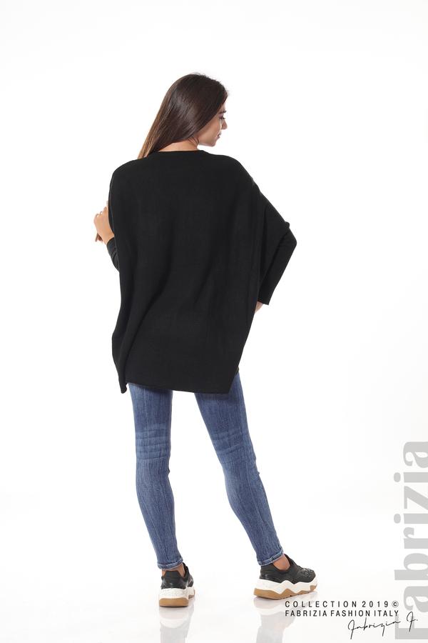 Асиметрична дамска блуза от рипс черен 4 fabrizia