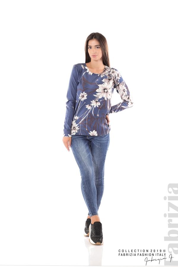 Блуза с принт на цветя т.син 2 fabrizia