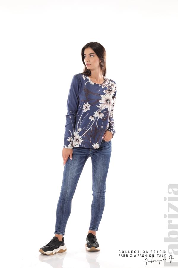 Блуза с принт на цветя т.син 3 fabrizia