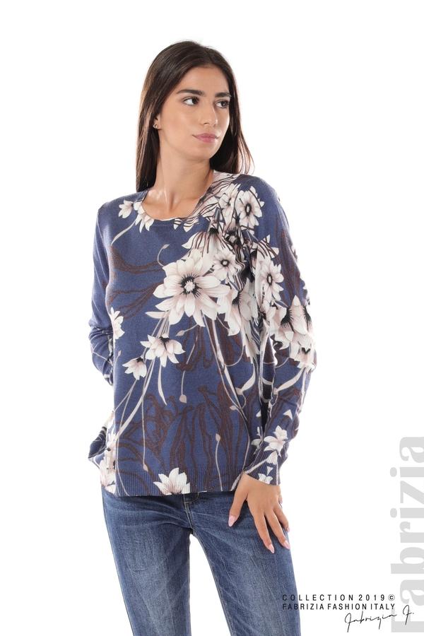 Блуза с принт на цветя т.син 1 fabrizia
