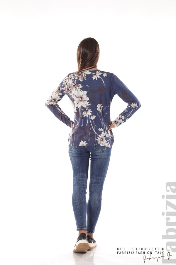 Блуза с принт на цветя т.син 4 fabrizia