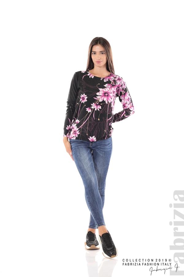 Блуза с принт на цветя черен/лилав 1 fabrizia