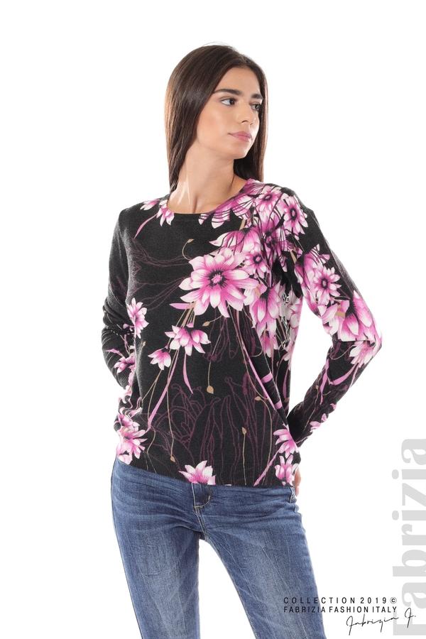 Блуза с принт на цветя черен/лилав 2 fabrizia